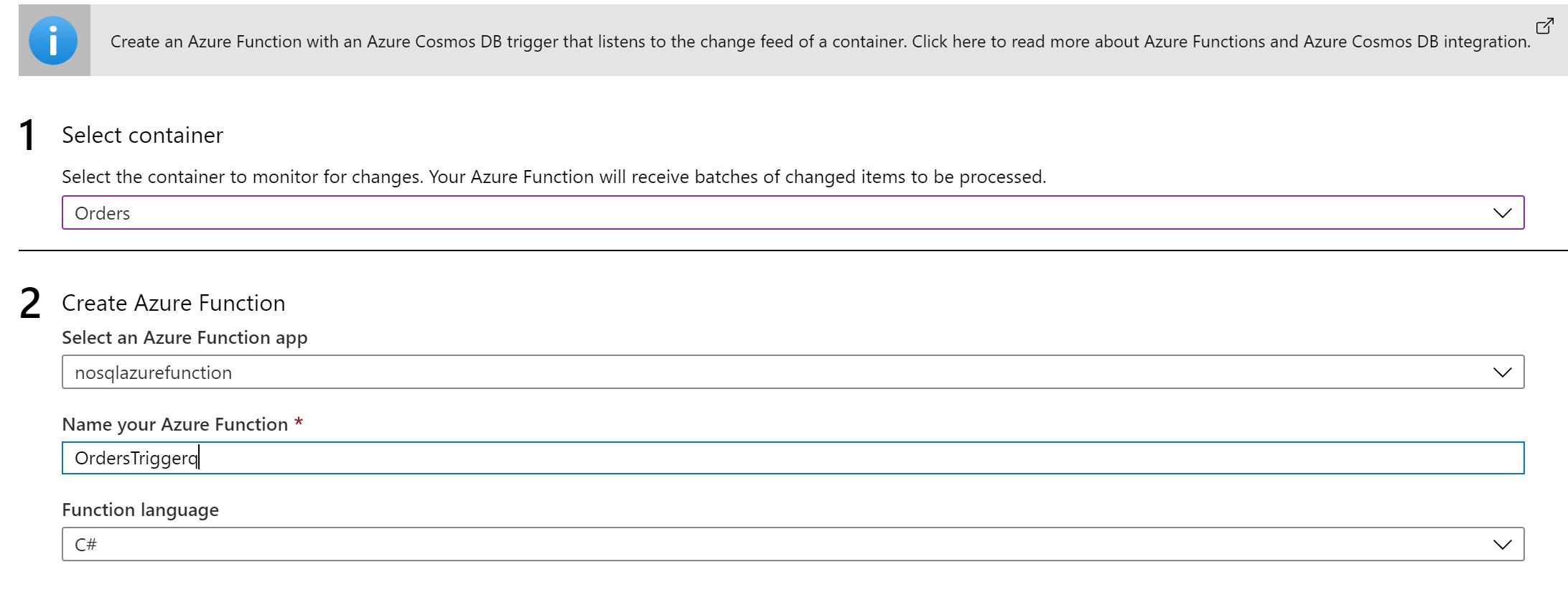 CosmosDB Azure Function 2